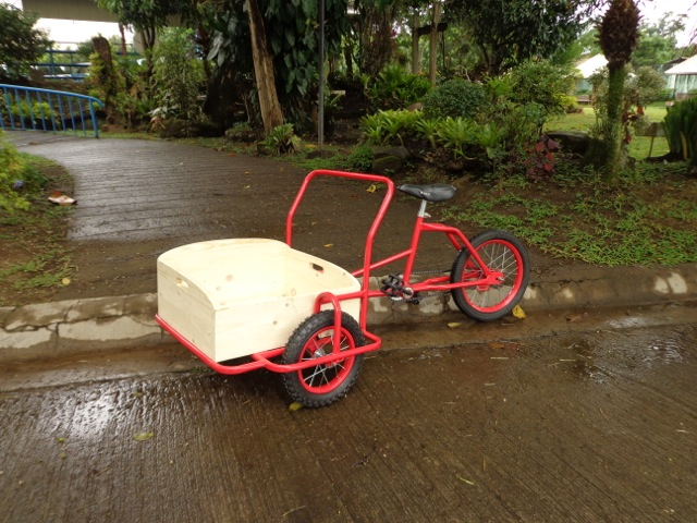"Hocus Junior Cargo bike prototype. 16"" rear wheel and 12"" front wheels."